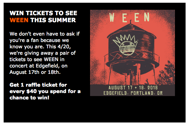 ween at edgefield 2018 tickets