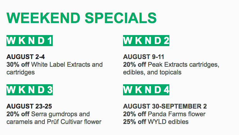 bcc weekend specials august 2019
